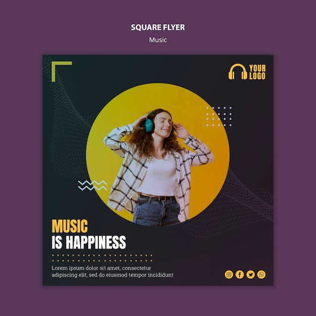 Musical event square flyer Free Psd