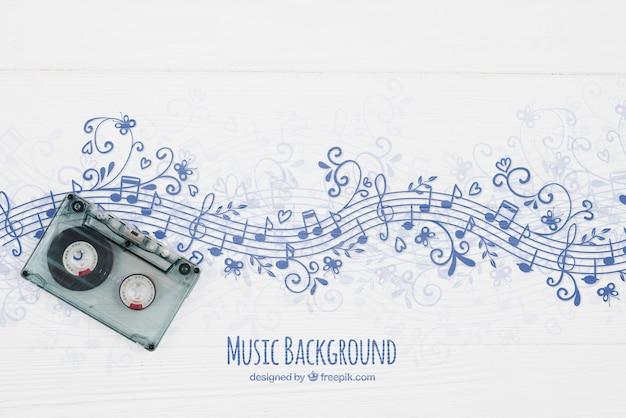 Музыкальные ноты фон с лентой Бесплатные Psd