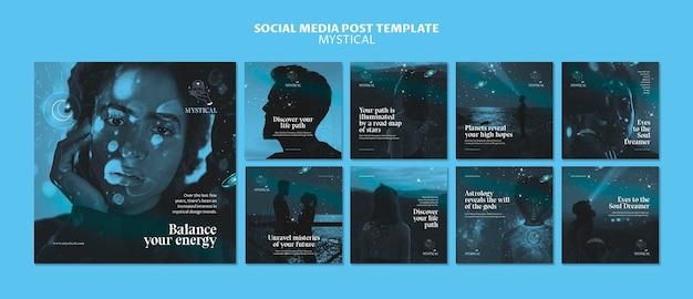 Шаблон сообщения в социальных сетях с мистической концепцией Бесплатные Psd