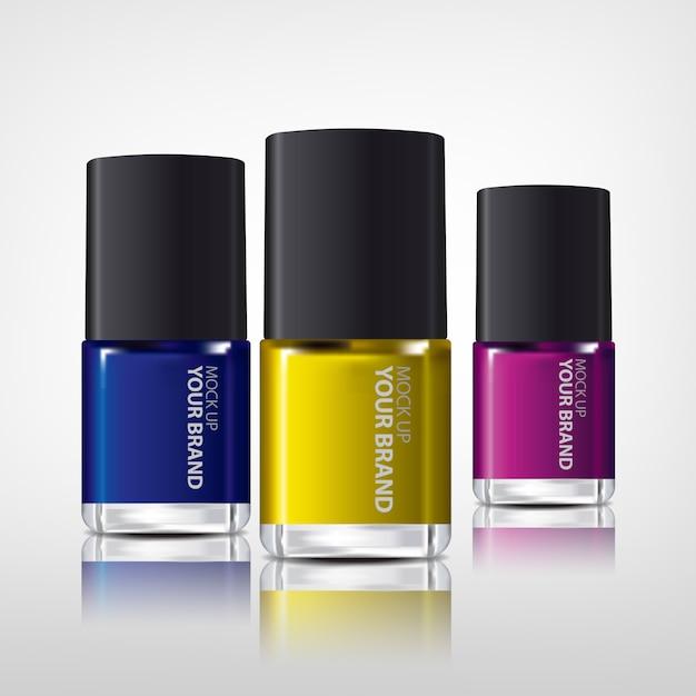 Лак для ногтей красочный реалистичный макет Бесплатные Psd