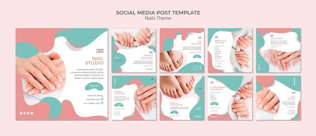 Modello di post social media nail studio Psd Gratuite