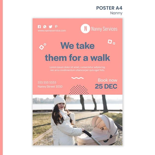 Шаблон плаката услуги няни Premium Psd