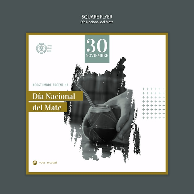 National day of drinking mate square flyer Free Psd