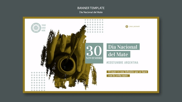 National day of mate beverage banner template Free Psd