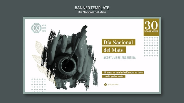 National day of traditional mate drink banner Free Psd