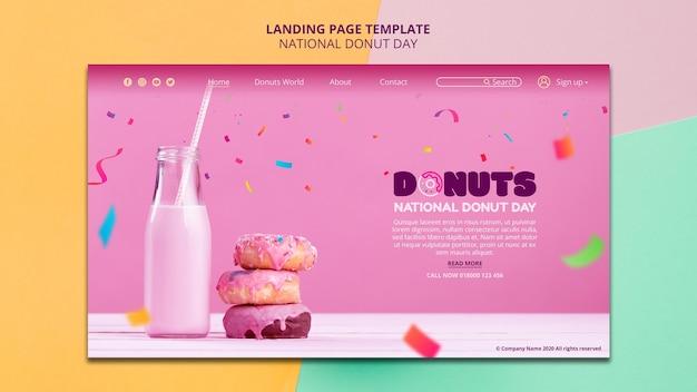 全国ドーナツの日ランディングページのデザイン 無料 Psd