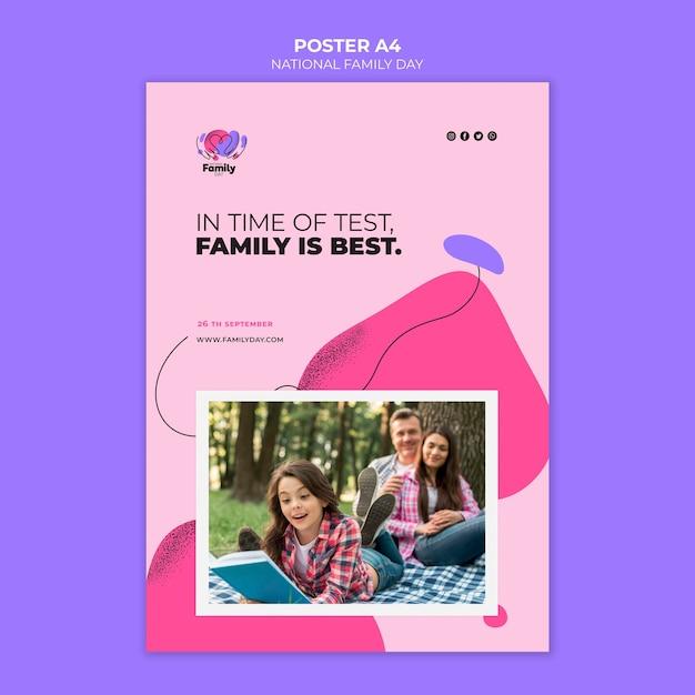 Дизайн плаката к национальному дню семьи Бесплатные Psd