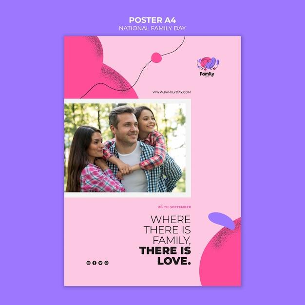 Шаблон плаката национального дня семьи Бесплатные Psd