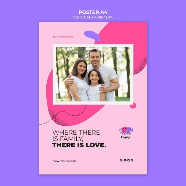 Тема плаката национального дня семьи Бесплатные Psd