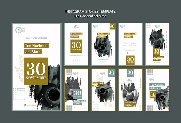 National mate drink instagram stories template Free Psd