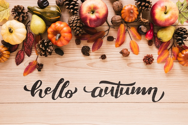 Natural autumn decor with greetings Free Psd