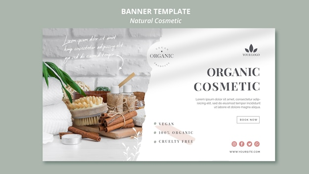 Natural cosmetics banner template Free Psd