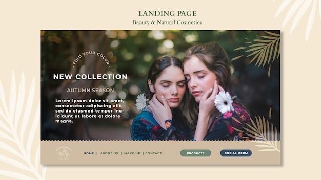 Modello di pagina di destinazione per cosmetici naturali Psd Gratuite