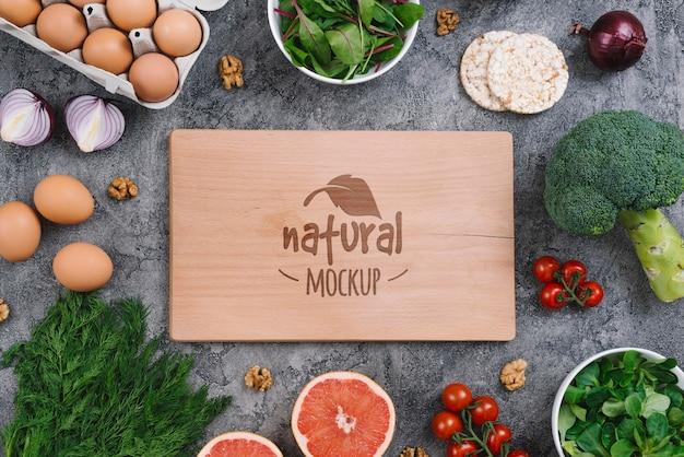 Natural and healthy vegan food mock-up Free Psd