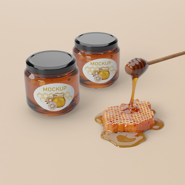 Natural honey product in jars Free Psd