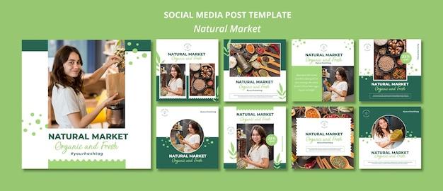 Шаблон сообщения в социальных сетях с концепцией естественного рынка Premium Psd
