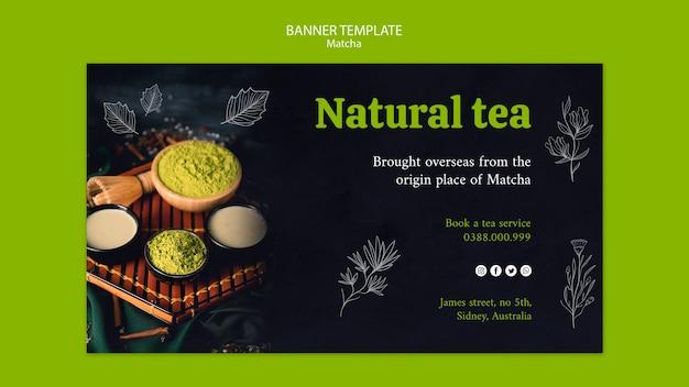 Natural matcha tea banner template Free Psd