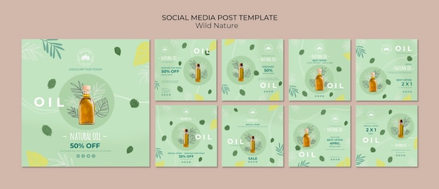 Natural oil social media post template Free Psd