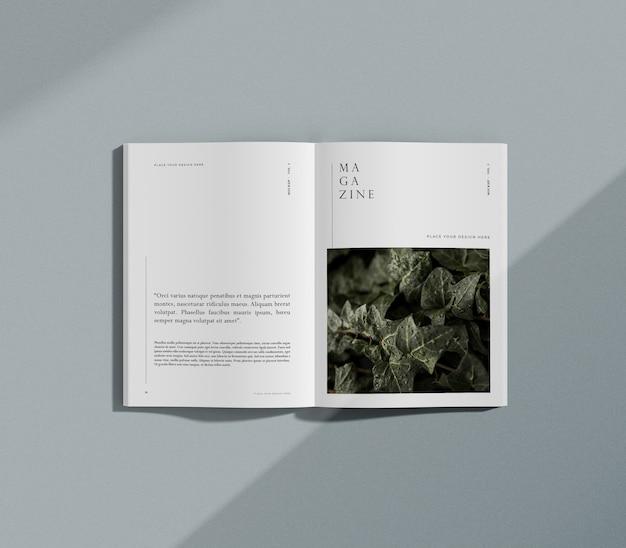 자연과 식물 편집 잡지 모형 프리미엄 PSD 파일