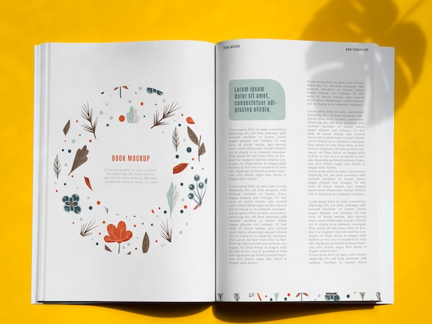 Nature book mock up on yellow background Free Psd