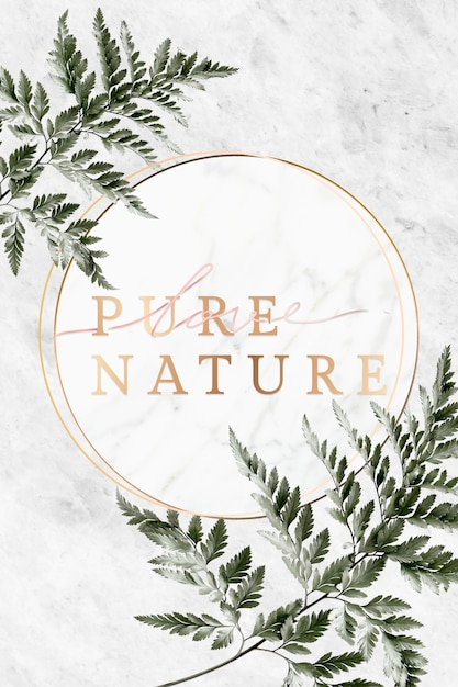 Nature frame on marble Premium Psd