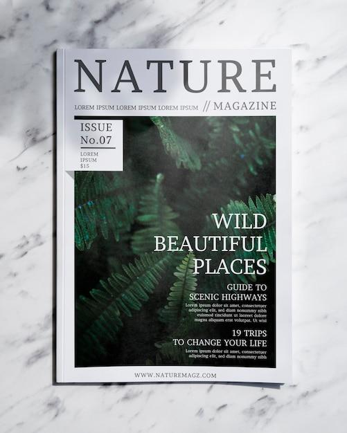 Nature magazine mock up on grey background Free Psd