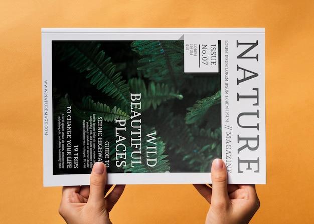 Nature magazine mock up on orange background Free Psd