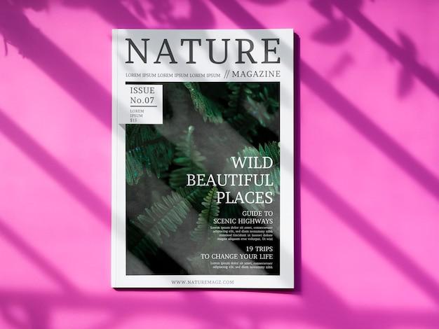 Nature magazine mock up on pink background Free Psd