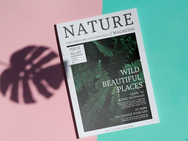 Nature magazine mock up on simple background Free Psd