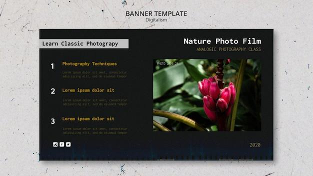 Banner di modello di pellicola fotografica di natura Psd Gratuite