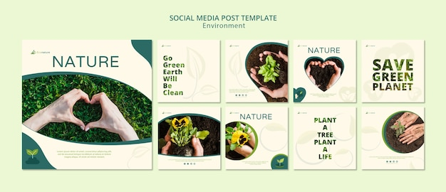 Nature and seedling social media post template Free Psd