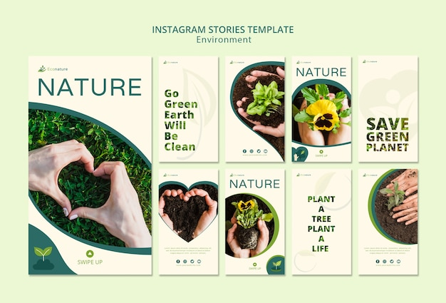 Nature and seedlings instagram stories template Free Psd