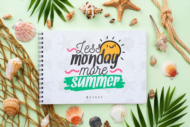 Nautic summer message on notebook mock-up Free Psd