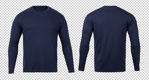 Navy long sleeve t-shirt front and back mock-up template for your design. Premium Psd
