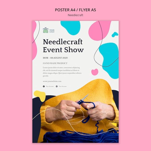 Needlecraft 포스터 템플릿 개념 무료 PSD 파일