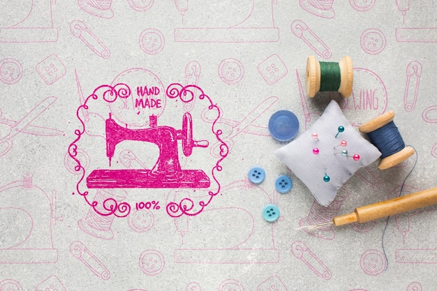 Needlework mock-up with sewing tools Free Psd