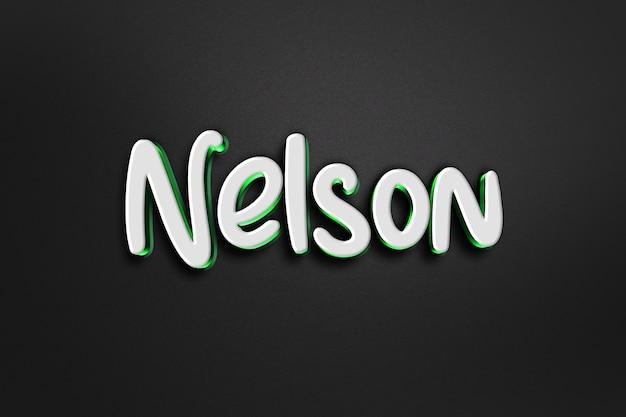 Nelson 3d text style effect Premium Psd