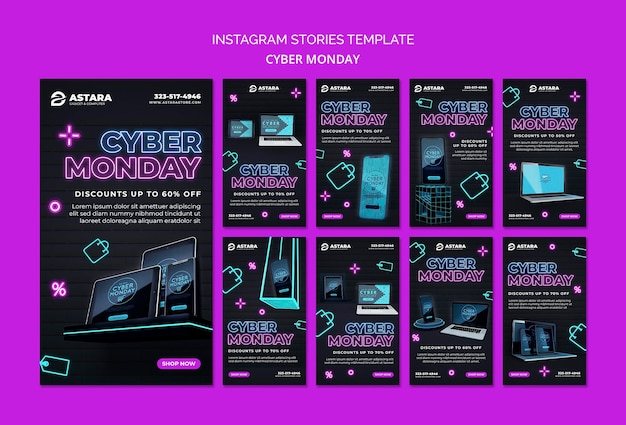 Neon cyber monday instagram stories collection Free Psd
