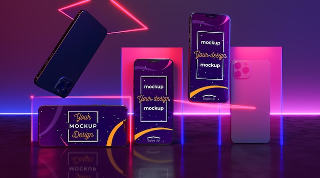 Концептуальный макет устройства neon Бесплатные Psd