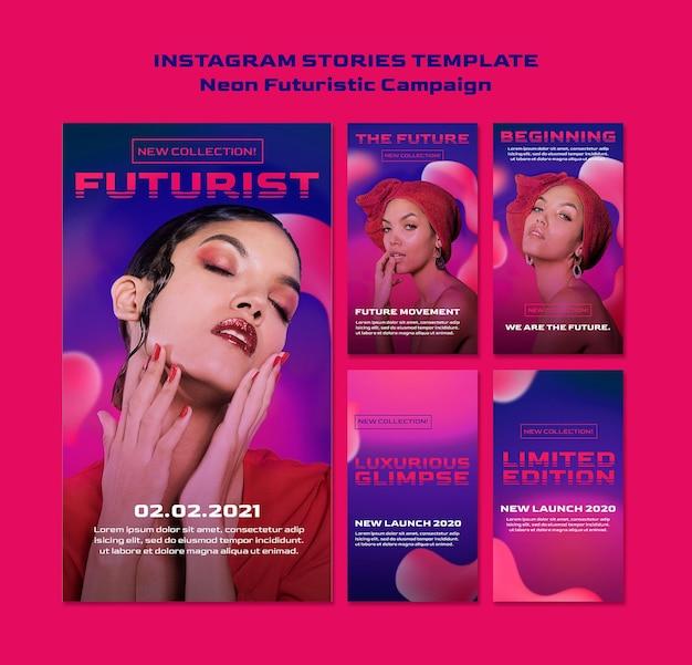 Neon futuristic instagram stories template Premium Psd