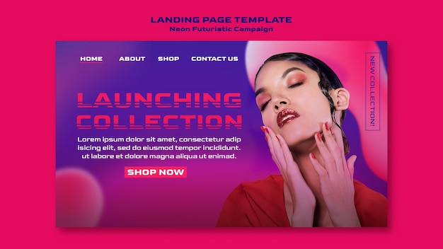 Neon futuristic landing page template Premium Psd