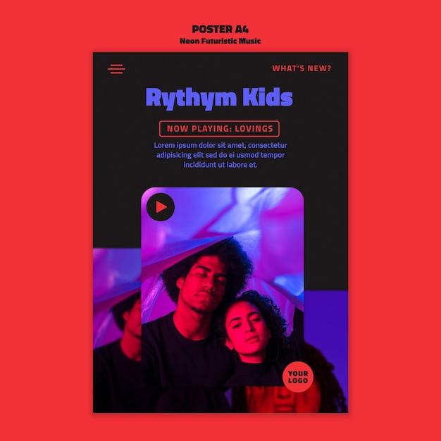 네온 미래 음악 템플릿 포스터 무료 PSD 파일