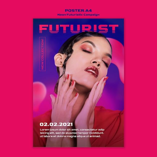 Neon futuristic poster template Free Psd