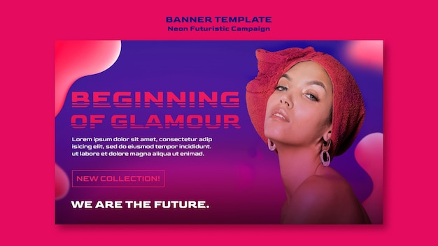Neon futuristic template banner Free Psd
