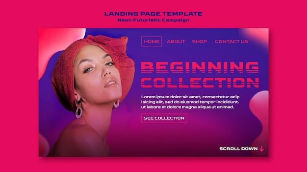 Neon futuristic template landing page Premium Psd