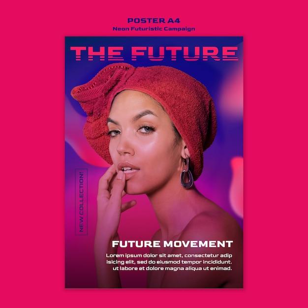 Neon futuristic template poster Free Psd