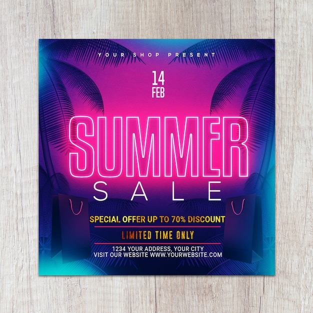 Neon gold summer flyer Premium Psd