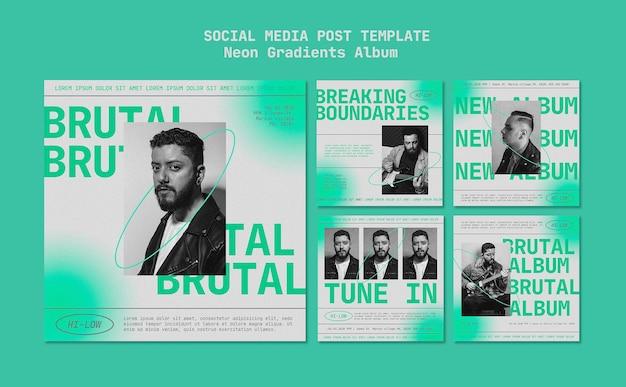 Neon gradients album social media post Premium Psd