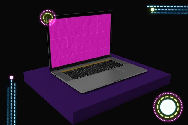 Neon laptop   mockup v.2 Premium Psd