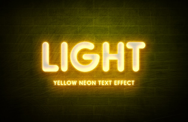 Neon light 3d text style effect template Premium Psd